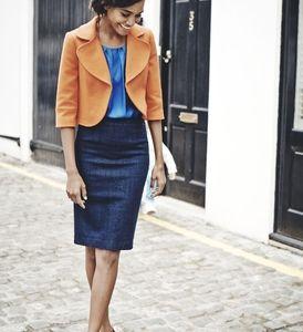 Boden Denim Pencil Skirt with Grosgrain Trim Waist